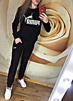 Женский спортивный костюм весна-осень Puma (42-44, 44-46, 46-48, 48-50) (цвет черный) СП, фото 1