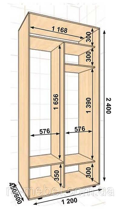 Шкаф-купе 1200*600*2400, 2 двери (Алекса)