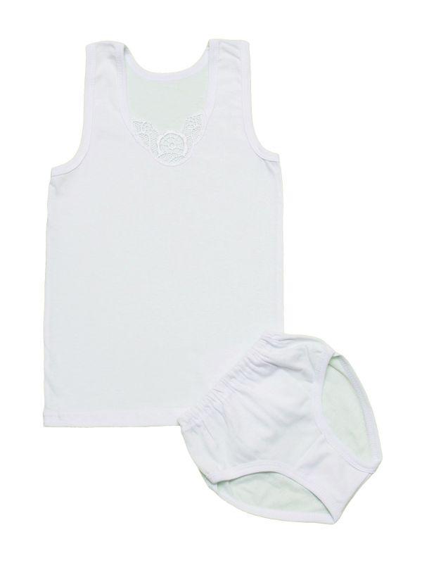 Белый комплект белья для девочки оптом