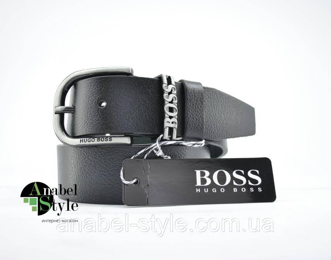 Ремень Bos$ под джинсы/брюки из натуральной кожи черного цвета М-7 закругленная пряжка Код 10112
