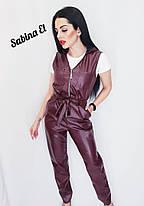 Комбинезонс брюками на молнии без рукавов кожа, фото 3