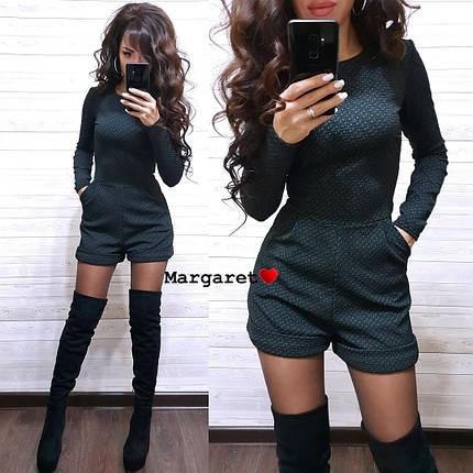 Стильный комбинезонс шортами и карманами джакард, фото 2