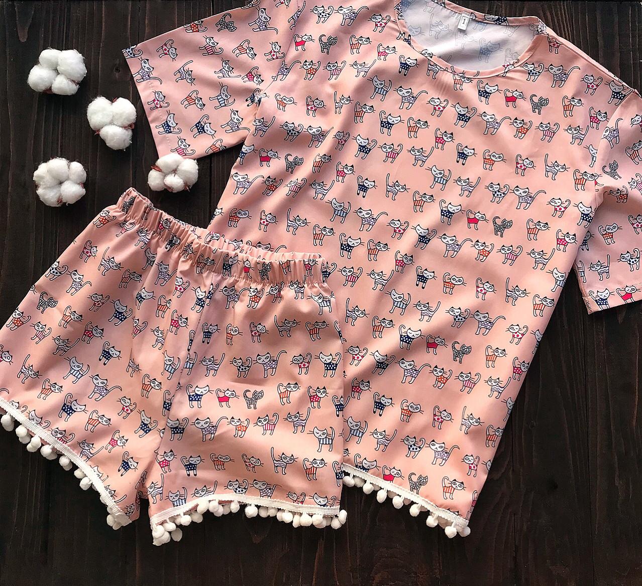 Пижама с бубонами S-M коты