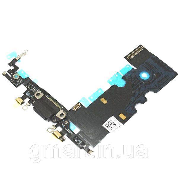 Порт зарядки и синхронизации iPhone 8 черный со шлейфом и нижними микрофонами, Порт зарядки і синхронізації iPhone 8 чорний зі шлейфом і нижніми