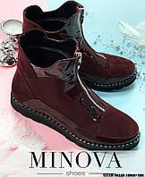 Ботинки №1223М-бордо замш-лак