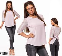 ec788eb7bbf Трикотажная женская блузка с люрексом (фрез) 827386