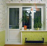 Металлопластиковый балконный блок AFT Vista окно двухстворчатое 2100*2100 Однокамерный.Стандартный.