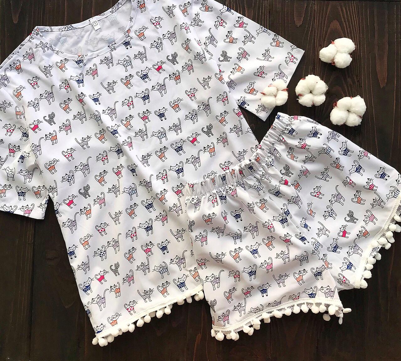 Пижама с бубонами L-XL коты