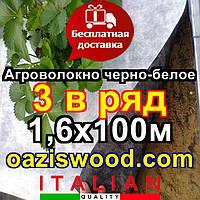 Агроволокно p-50g отверстия 3 в ряд 1.6*100м черно-белое Agreen итальянское качество с перфорацией, фото 1