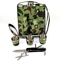 Фляга со стопками в камуфлированном чехле PT-18-B