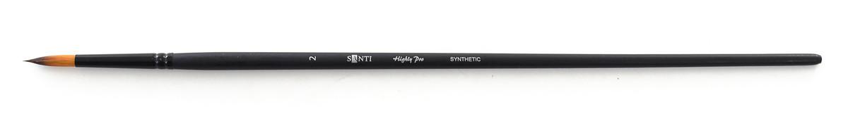 """Кисть худож. синтетика """"Santi Highly Pro"""", длинная ручка, круглая, №2."""