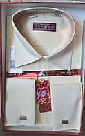 Молочная классическая мужская рубашка под запонку BENDU (размеры 39,40,41,42)