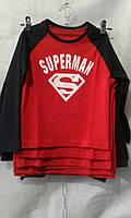 Батник для мальчика на 2-6 лет с надписью красного цвета Супермен оптом