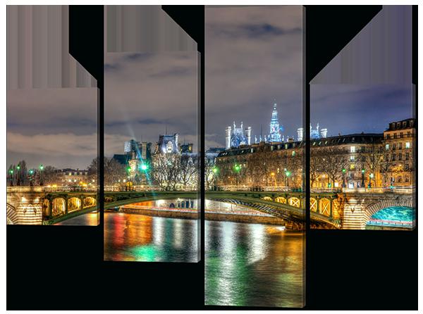 Модульная картина Interno Эко кожа Красивые огни города 146x109см (A550L)