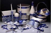 Свадебный набор аксессуаров для свадьбы с элементами синего цвета