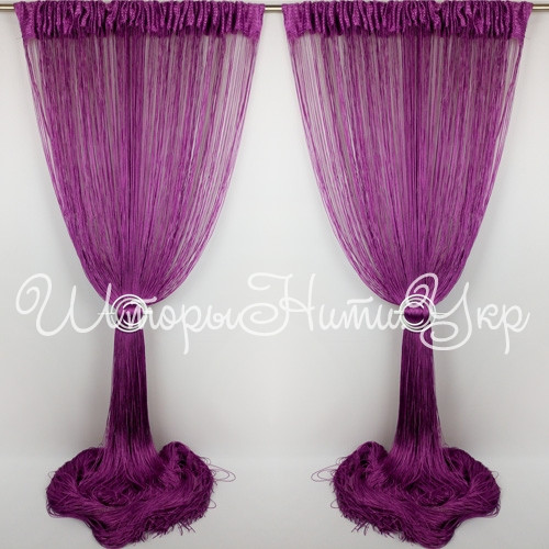 Шторы нити Фиолетовые №205 Однотонные