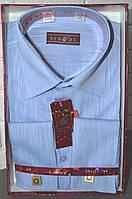 Темно-голубая классическая мужская рубашка под запонку BENDU (размеры 39,40,44)