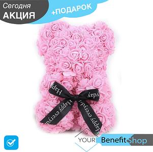3D Мишка из латекстных роз с лентой в подарочной упаковке | Светло розовый 25 см