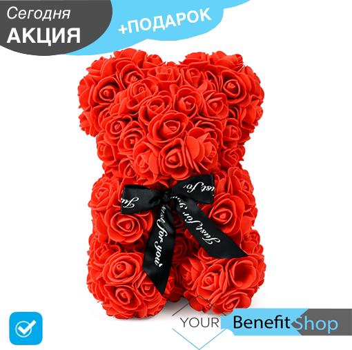 3D Мишка из латекстных роз с лентой в подарочной упаковке | Красный 25 см