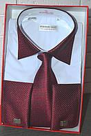 Белая классическая мужская рубашка под запонку и с галстуком FERRERO GIZZI (размер 38,39,40,41)