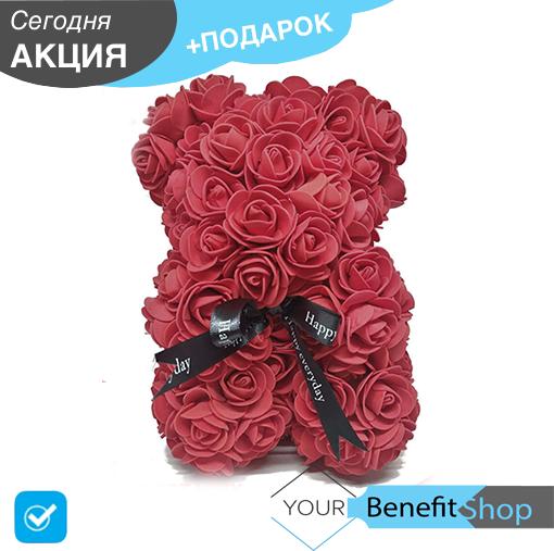 3D Мишка из латекстных роз с лентой в подарочной упаковке | Бордовый 25 см