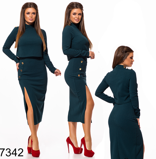 Модный костюм юбка миди + кофта (бутылка) 827342