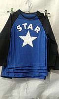 Батник для мальчика на 2-6 лет с надписью синего с черным цвета с надписью оптом