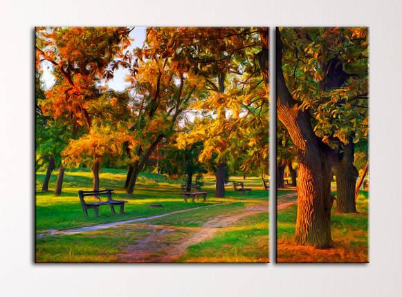 "Модульная картина ""Парк в лучах лоснца"", фото 2"