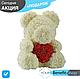 3D Мишка из латекстных роз с лентой в подарочной упаковке | Серый 40 см, фото 4