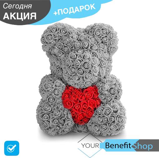 3D Мишка из латекстных роз с лентой в подарочной упаковке | Серый 40 см