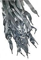 Шнурки плоские атласные Серые 15мм 100см
