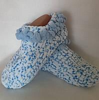 Носки женские, вязанные с декоративной отделкой, цвет - голубой/белый. Ручная работа Размер - 38