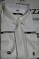 Белая приталенная рубашка под запонку с галстуком BENDU