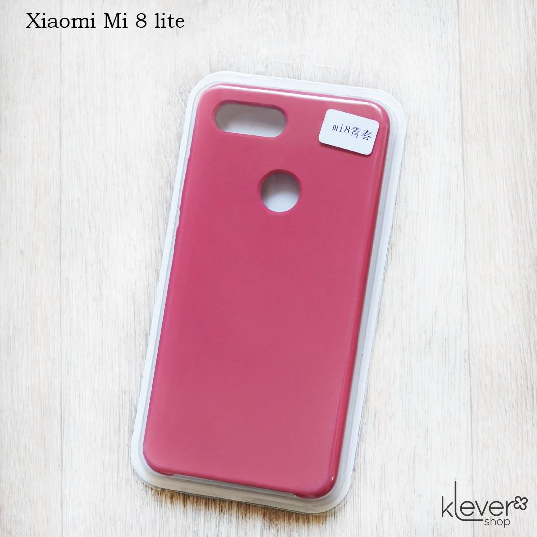 Soft-touch чехол HQ Silicone Cover жидкий силикон для Xiaomi Mi 8 Lite (dark rose) (микрофибра внутри)