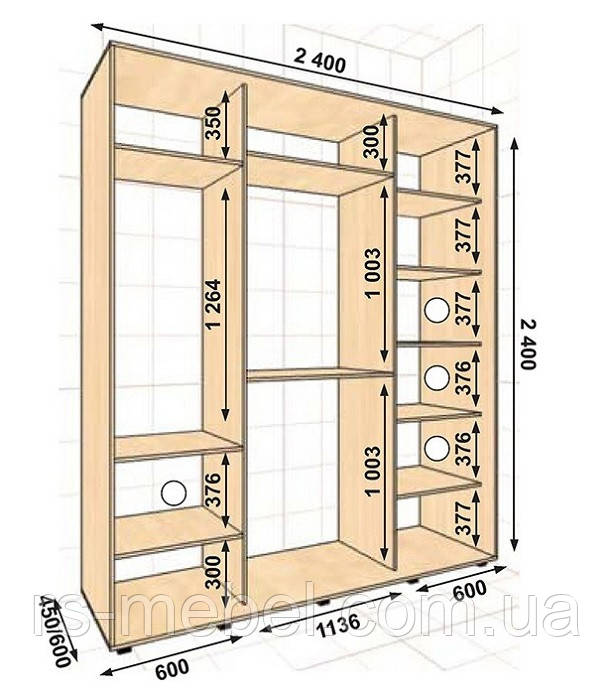 Шкаф-купе 2400*450*2400, 3 двери (Алекса)