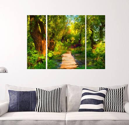 """Модульная картина """"Ручей в лесу"""", фото 2"""