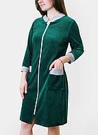 """Халат велюровый женский """"Зеленый"""" на молнии классика ВК009, фото 1"""