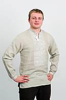 Мужская рубашка вышиванка с бежевого льна