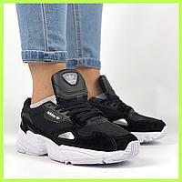 Женские кроссовки Adidas Originals Falcon Core Black White черные белые с  белой подошвой ТОП 1c302dc39d855