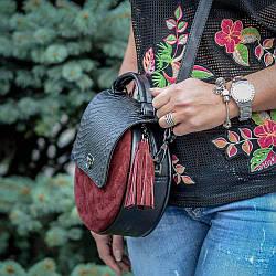 Круглая  женская сумка из натуральной кожи и замши.