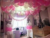 Оформление воздушными шарами квартиры на выписку из роддома