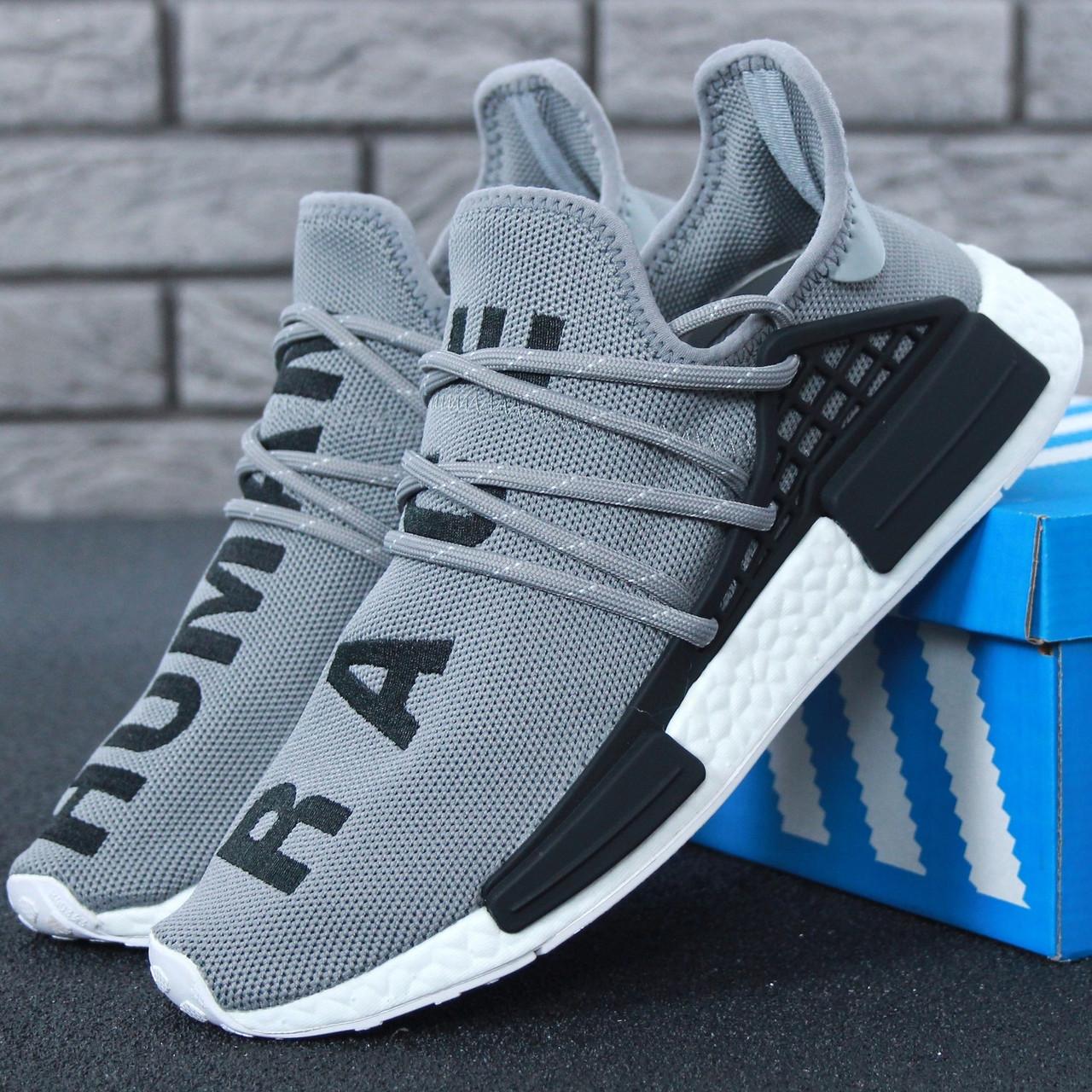 d5164686624d40 Мужские кроссовки Adidas NMD Human Race x Pharrell Williams Grey/Black/White  - Интернет