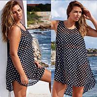 Женская легкая платье туника в горошек L-XL