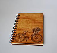 Деревянный блокнот Велосипед тонированный
