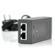 POE инжектор 48V 0.5A (24Вт) с портами Ethernet 10 / 100 / 1000Мбит / с + кабель питания (92*72*50) 0.095 кг (88*45*30)