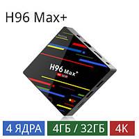 Android tv box H96 max + 4\32 андроид тв бокс приставка