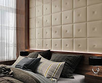 Готовые дизайнерские решения.!!! Мягкая стеновая панель из экокожи SOFITEL.  Размер 40х40 см. Любой цвет, фото 7