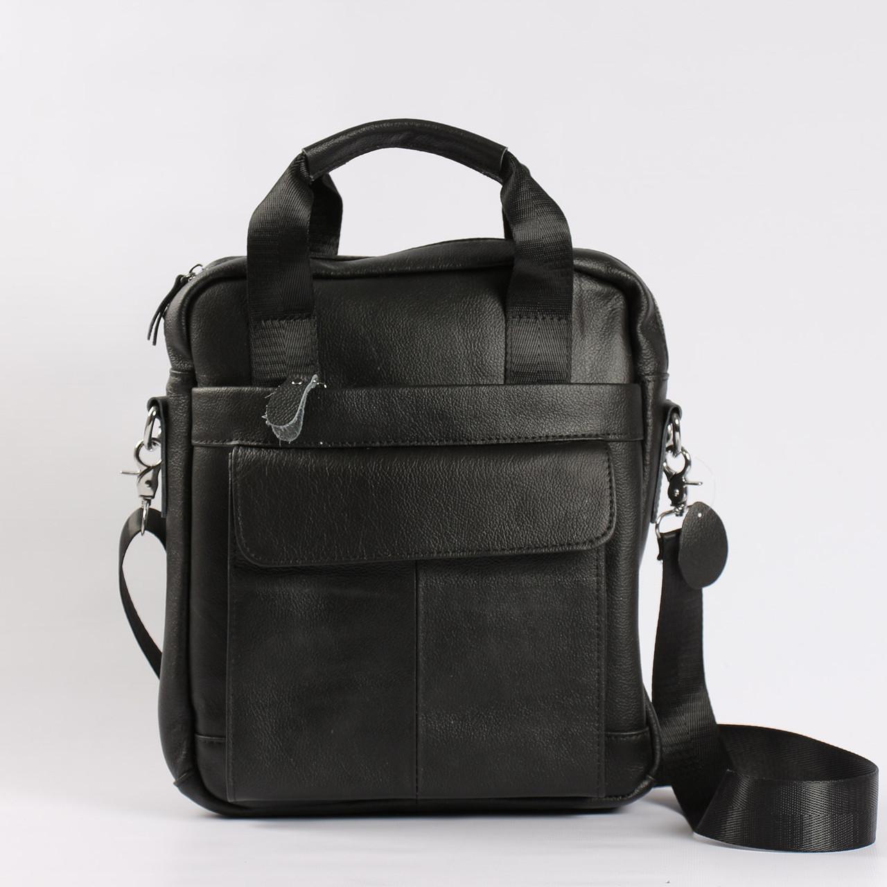 """Большая мужская кожаная сумка черная """"Шерлок Black"""""""