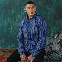 Рубашка мужская синяя в клетку Semco батал