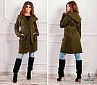 СТИЛЬНОЕ пальто с капюшоном и поясом NOBILITAS 42 - 48 зеленое итальянский кашемир (арт. 18034), фото 4